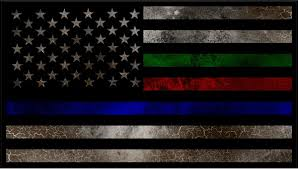 Thin Blue Red Green Line American Flag Decal Sticker 91