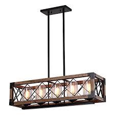rectangle wood metal pendant light
