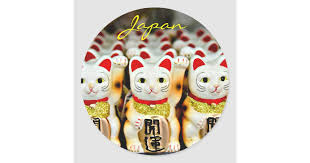 Maneki Neko Japanese Beckoning Cats Photo Classic Round Sticker Zazzle Com
