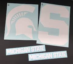 Nudge Printing Michigan State University Msu Spartans Corn Hole Bean Bag Toss Tailgate Game Vinyl Stickers Decals Set 1 Green Spartan Helmet 1 Green Block S 2 Green Athletic Font Decals Sports