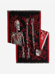 Men's Black/Red Ivy King And Queen Scarf | Alexander McQueen