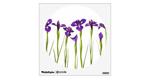 Purple Irises Iris Flower Customized Template Wall Sticker Zazzle Com
