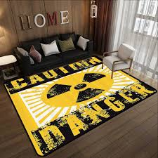 Amazon Com Kids Floor Mats Vintage Decor Sign With Caution And Danger Icon Atomic Nuclear Area Beware Toxic Artwork Yellow Black 47 X 59 Bedroom Living Room Area Rug Kitchen Dining