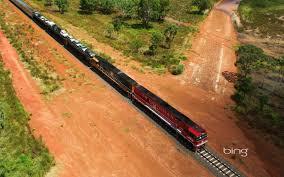 Aerial of the Ghan Train Australia ...