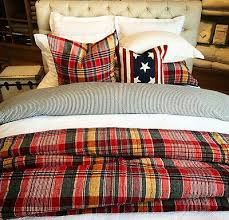 POTTERY BARN QUINN Plaid Quilt Warm King 2 King Shams Red Blue ...