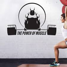 Car Gym Sticker Fitness Decal Bodybuilding Barbell Posters Vinyl Fit Wall Decals Parede Decor Mural Gym Sticker Wall Stickers Aliexpress