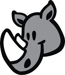 Gray Happy Rhino Head Cartoon Icon Vinyl Decal Sticker Shinobi Stickers