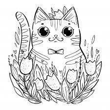 Kleurplaat Met Cartoon Kat Met Tulpen Premium Vector