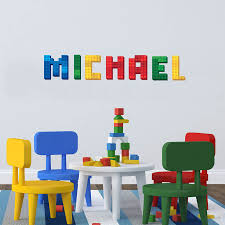 Lego Block Name Decal Personalized Custom Name Wall Sticker Baby Nursery Decor Decorative Door Stickers Stickers For Your Phonesticker Book Aliexpress