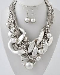 chunky silver necklace i love big