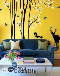 Living Room Wall Tree Decal With Animalswallconsilia Com