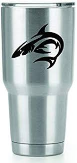 Amazon Com Tribal Shark Vinyl Decals Stickers 2 Pack Yeti Tumbler Cup Ozark Trail Rtic Orca Decals Only Cup Not Included 2 3 X 3 5 Inch Black Decals Kcd1531 Automotive