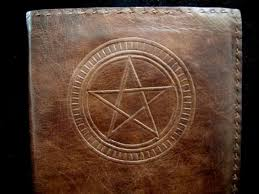 pagan wicca pentacle handmade leather