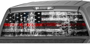 Amazon Com Motorink American Flag Distressed Red Thin Line Usa Rear Window Graphics Firefighter Decal Tint Perforated Sticker For Truck Vinyl Pickup Wrap Grunge Size D 22 X 66 Automotive
