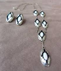 Navajo Sterling Silver & Opal Necklace & Earrings Set by Felix Perry J –  Two Ponies Trading