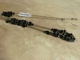 ETHEL & MYRTLE Long Gold Tone Multi Chain Necklace New Black Beautiful |  eBay