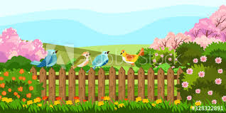 Vector Stock Illustration With Cute Colorful Birds Sitting On The Garden Fence Spring Rural Backyard With Blooming Trees Bushes And Flowers Village Background In Cartoon Style Buy This Stock Vector And