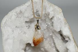 raw citrine point crystal pendant with