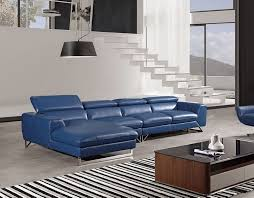 roger blue leather sectional las