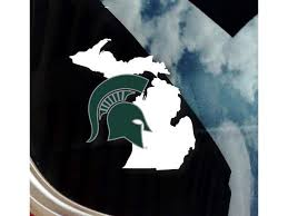Nudge Printing Michigan State University Msu Spartan Helmet On State Of Michigan Car Window Decal Bumper Sticker Laptop Sticker Newegg Com