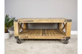 rustic coffee table on wheels mango