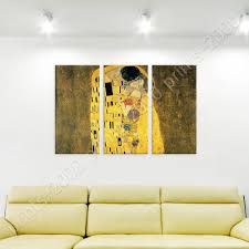 The Kiss By Gustav Klimt Poster Or Wall Sticker Decal 3 Panels Wall Art Ebay