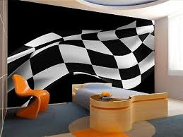 Black Racing Flag Photo Wallpaper Wall Mural Decor Paper Poster Free Paste 7104694139886 Ebay