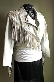 white cropped leather fringe jacket