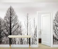Tree Wall Mural Nursery Wallpaper Black Pine Tree Decal Etsy