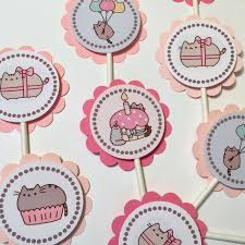 30 Pusheen The Cat Birthday Party Cupcake Toppers Ready To Ship