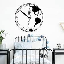 Armageddon Symbol Clock World Map Wall Sticker Bedroom Kids Room Adventure Travel Clock Map Wall Decal Playroom Vinyl Decor Kerri Yetrfeas343