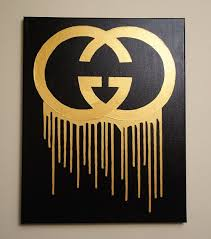 Gucci Drip 16x20 Acrylic Painting Gucci Inspired Pop Art Black And Gold Metallic Home Wall Art Drip Painting Canvas Art Art
