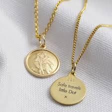 gold sterling st christopher necklace