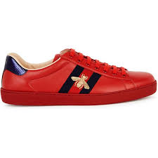 gucci new ace red leather trainers
