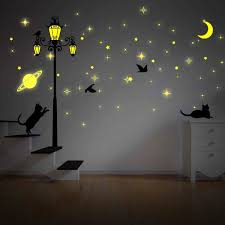 Ebern Designs Moon And Stars Glow In Dark Street Light Wall Decal Reviews Wayfair