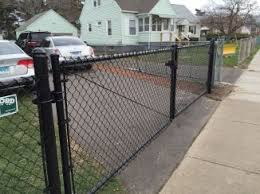 Double Black Coated Chain Link Driveway Gate Chain Link Fence Driveway Gate Yard Gate