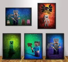 5 Lego Minecraft Poster Set Bundle Wall Art Custom Made Kids Room Decor Photo Art Gifts Minecraft Posters Wall Art Kid Room Decor