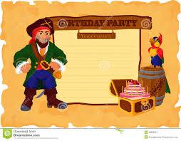 Tarjeta De La Fiesta De Cumpleanos Con El Pirata Ilustracion Del