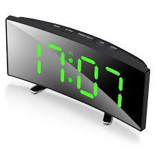 Digital Alarm Clock 7 Inch Curved Dimmable Led Screen Digital Clock For Kids Bedroom Green Large Number Clock Lightweight Sma Alarm Clocks Aliexpress