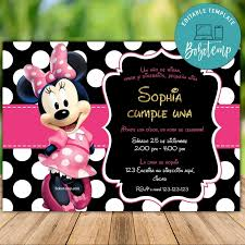 Imprimible Minnie Mouse 1er Cumpleanos Invitaciones Descarga