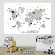 Animal World Map Wall Decal Kids Country World Map Poster Etsy