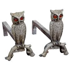 owl form andirons with amber glass eyes