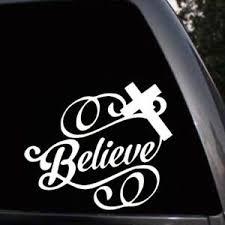 Christian Jesus Cross Believe Script Car Window Truck Laptop Vinyl Decal Sticker Ebay