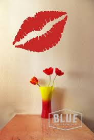 Lips Vinyl Wall Decal Kissing Lips Vinyl Wall Decal Etsy