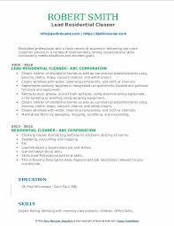 residential cleaner resume sles