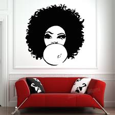 Fashion African Woman Wall Decal For Girls Bedroom Beautiful Afro Girl Curly Hair Salon Tribal Home Decor Wall Stickers D124 Wall Stickers Aliexpress