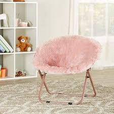 Amazon Com Ultra Soft Cute And Fashionable Mainstays Kids Blair Plush Faux Fur Saucer Chair Pink Portable Folds For Easy Compact Storage And Transport Great For Kids Room Playroom Living Room Kitchen Dining