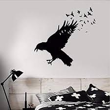 Amazon Com Wall Vinyl Decal Decal Black Raven Flock Of Birds Sticker Gothic Style Decor Birds Animal Sticker Decor Kitchen Dining