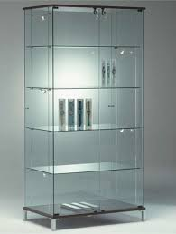 frameless glass showcases with images
