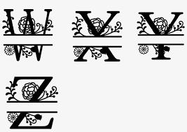Monogrammed Split Floral Letters Vinyl Decal Floral Letter Png Free Transparent Png Download Pngkey